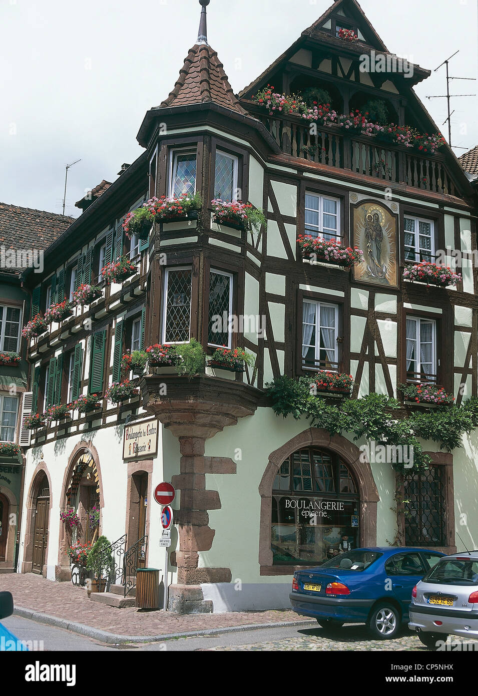 Map Of Kaiserberg France.France Alsace Kaiserberg Typical Half Timbered Stock Photos France