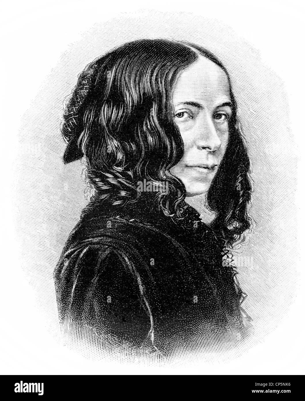 Elizabeth Barrett Browning, an English poet, 1806 - 1861 - Stock Image