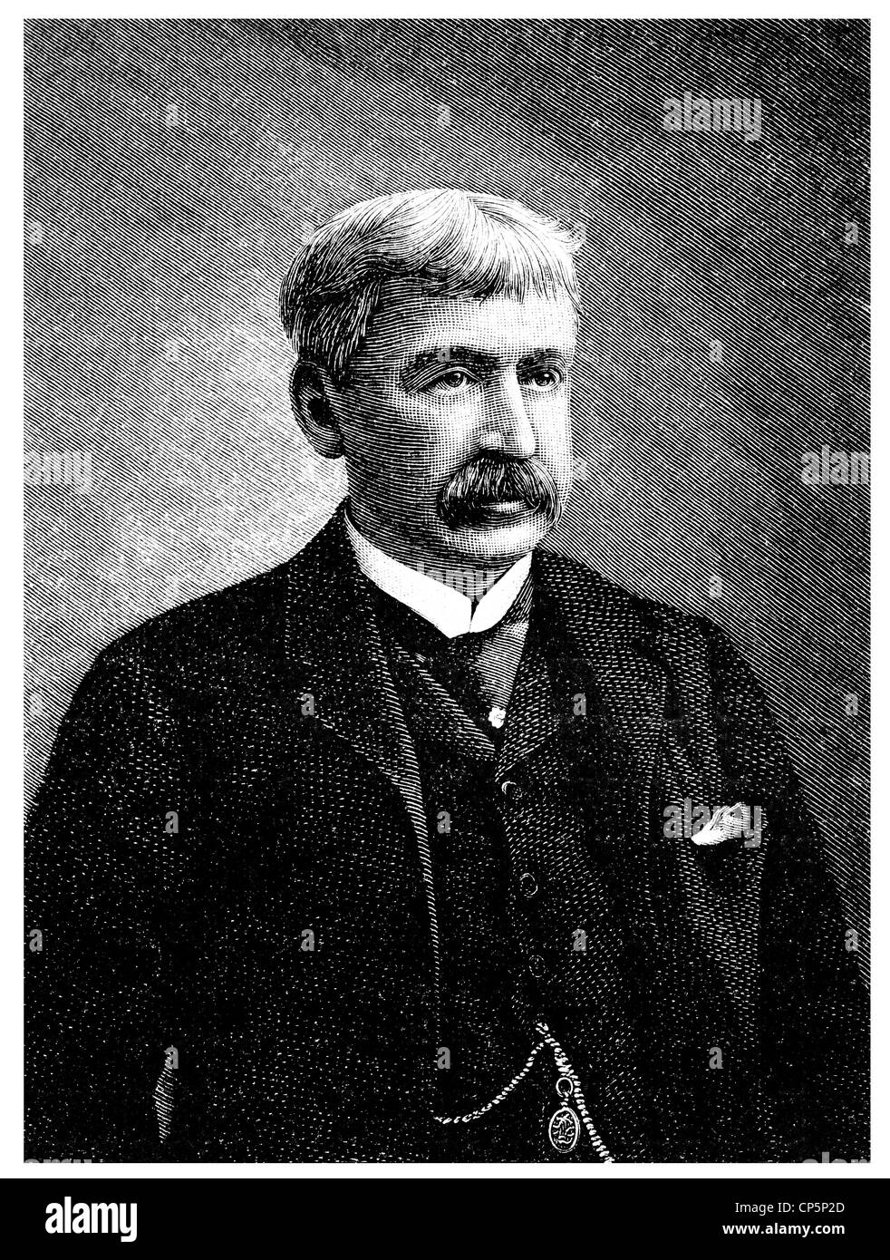 Francis Bret Harte, 1836 -1902, an American writer, - Stock Image