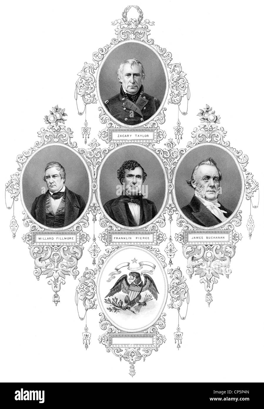 presidents of the United States of America, 1849-1861, Zachary Taylor, Millard Fillmore, Franklin Pierce, James - Stock Image
