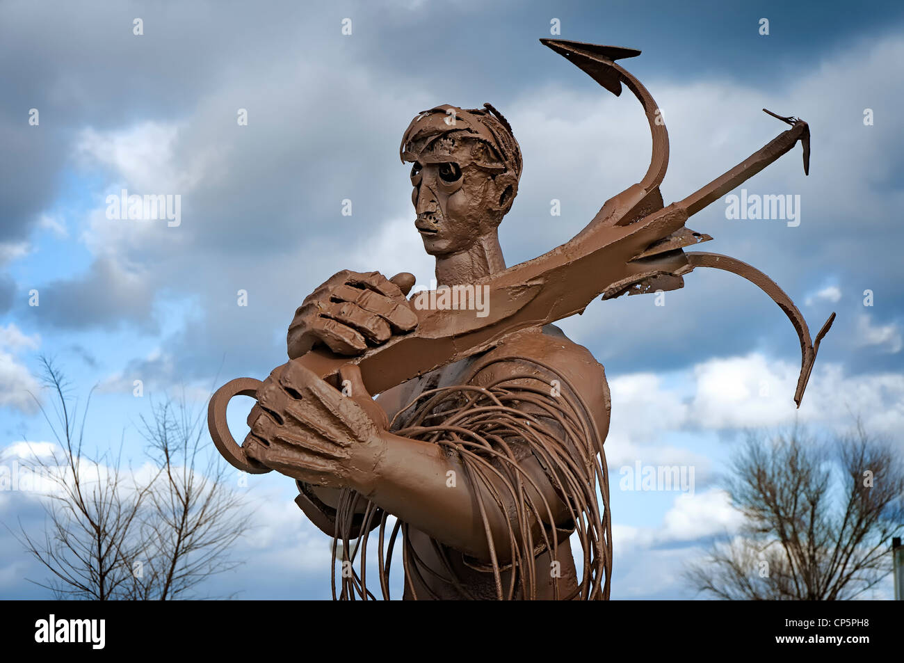 Sculpture in memory of the fishermen of Laredo, Cantabria, Spain - Stock Image