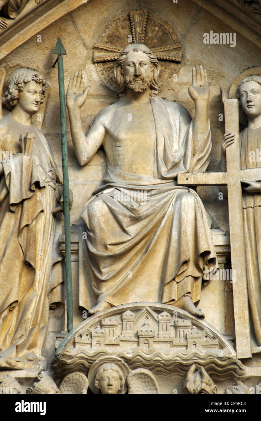 Gothic Art. France. Paris. Notre Dame. The portal of the Last Judgment (built in the 1220s-1230s.). Tympanum. Christ - Stock Image
