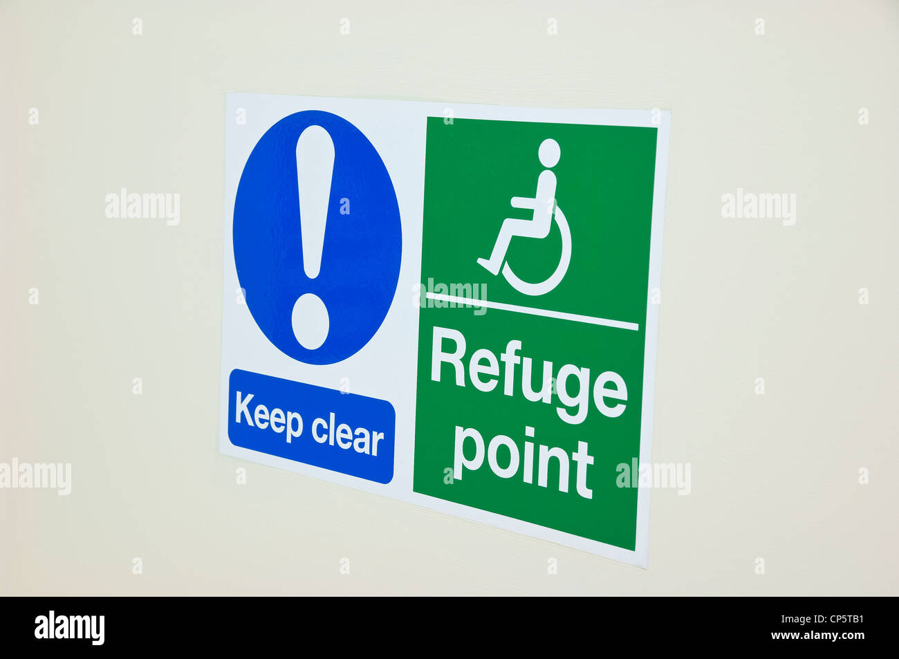 Disability Wheelchair Refuge Point Sign - Stock Image