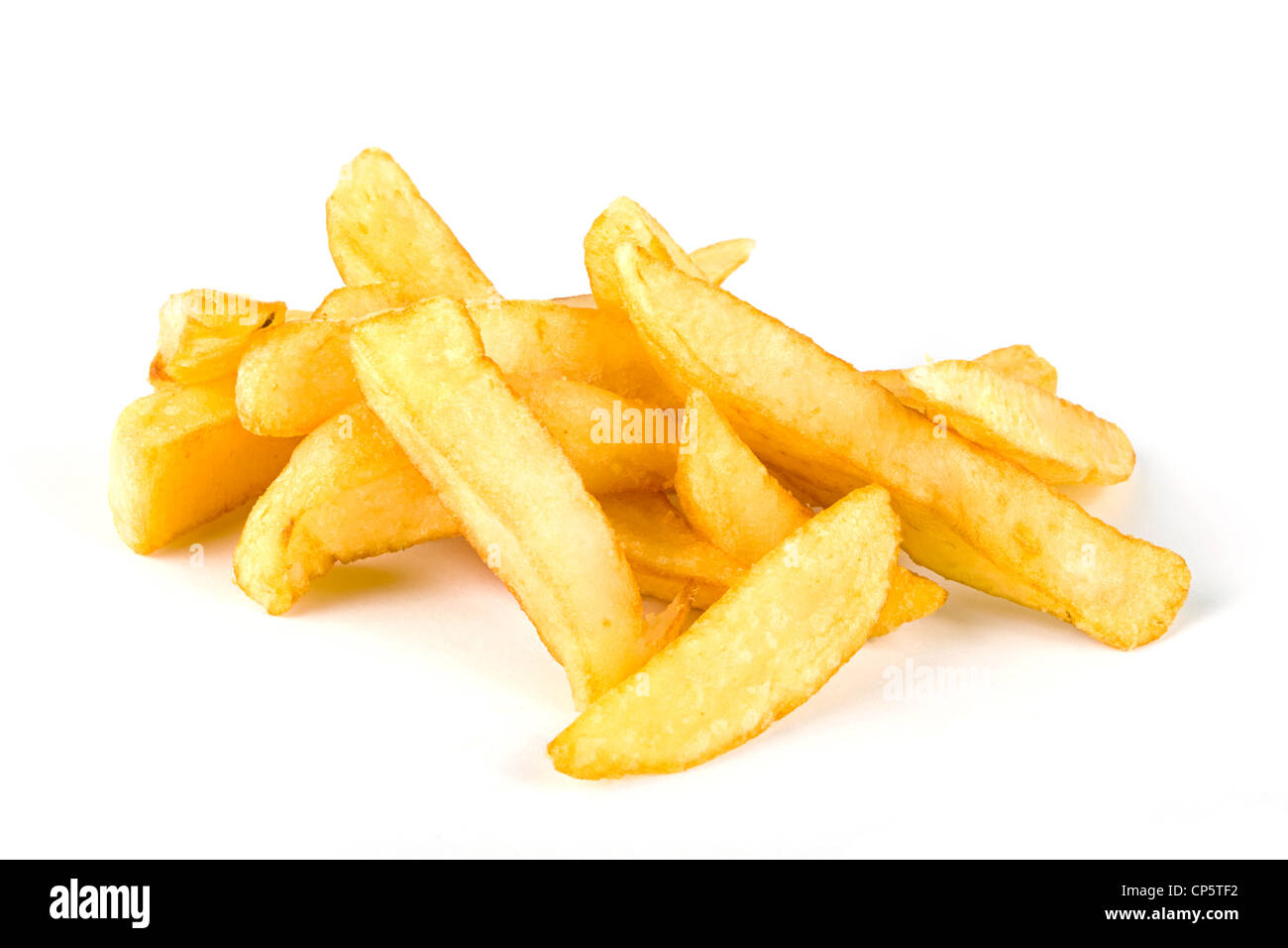Pile of french fries over hwite - Stock Image