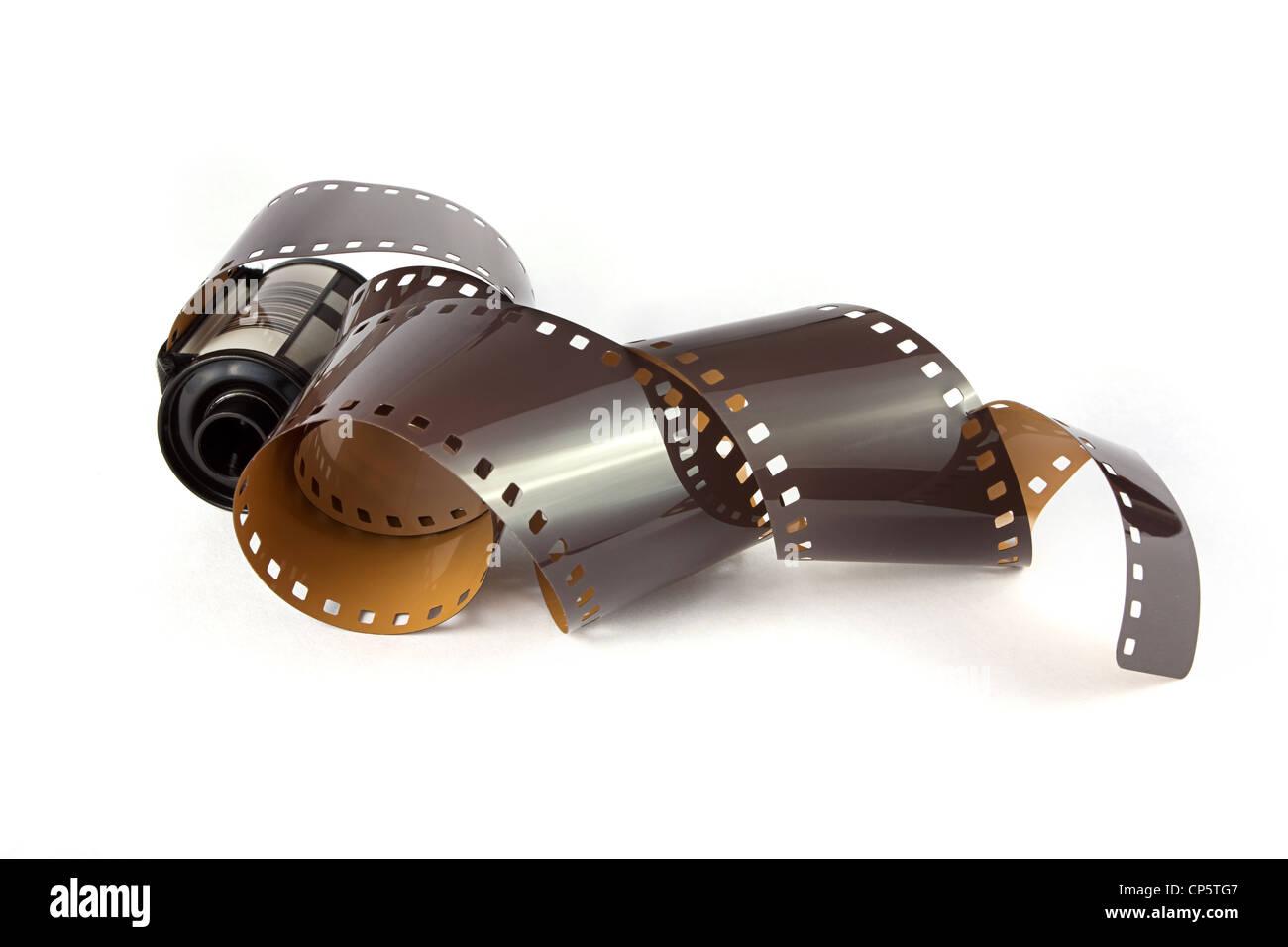 35mm film strip over white Stock Photo