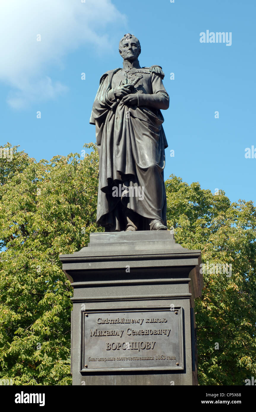 Bronze monument to the prince Michael Vorontsov, Odessa, Ukraine, Europe - Stock Image