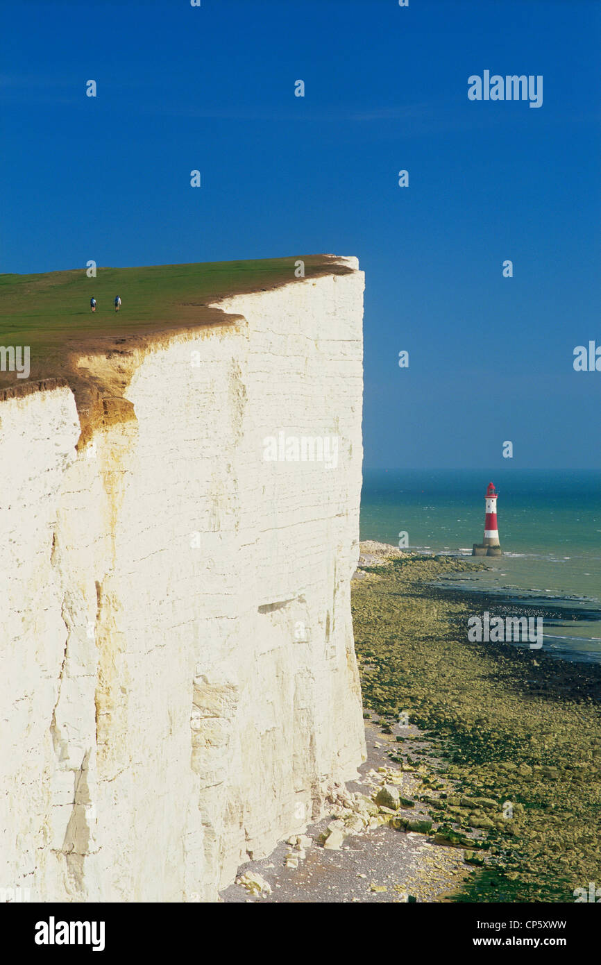 England, Sussex, Beachy Head and Lighthouse - Stock Image