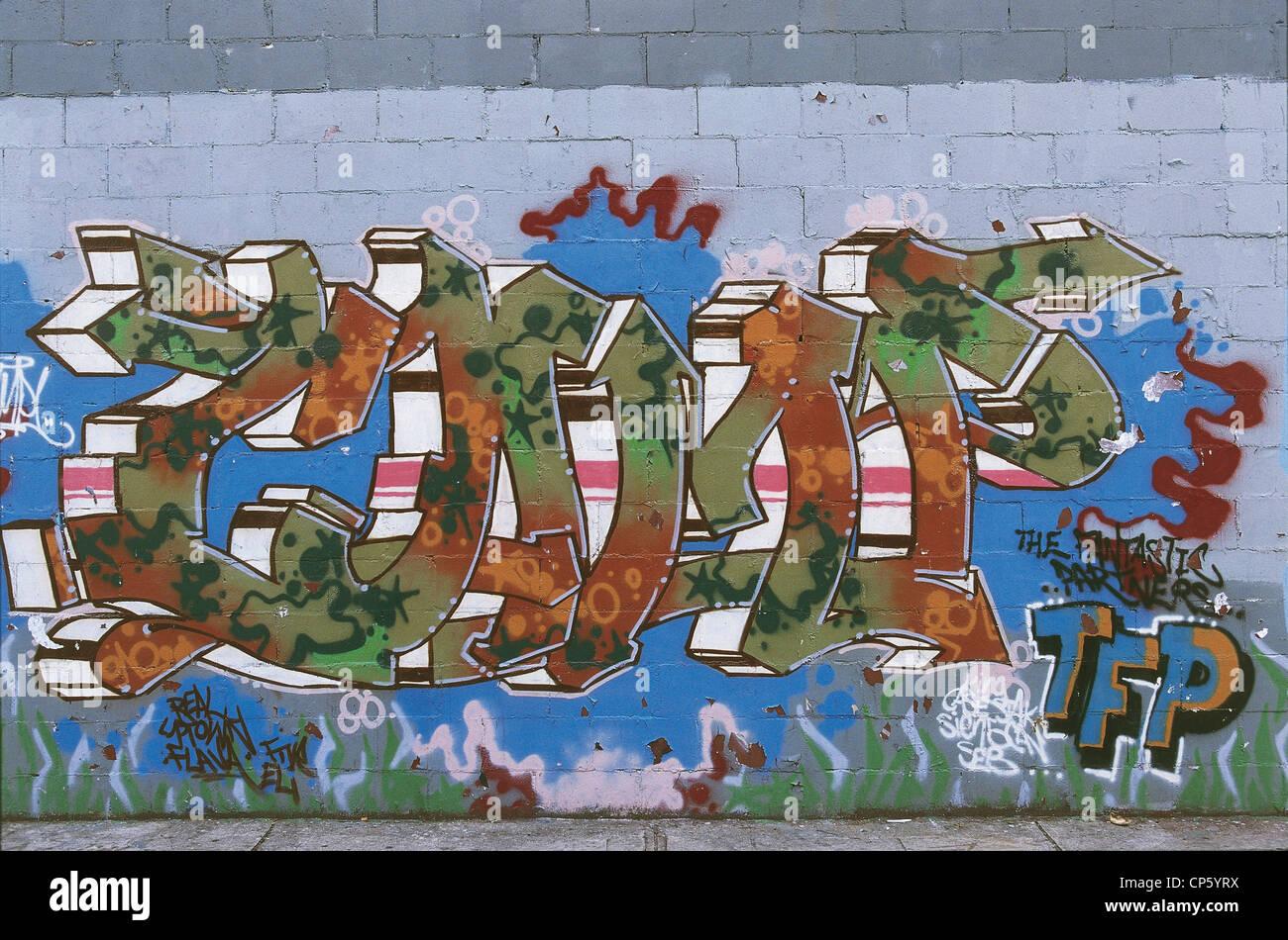 United States of America - New York-Bronx, murals. - Stock Image