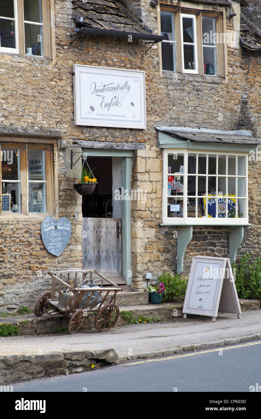 Quintessentially English shop at Lacock in April - Stock Image
