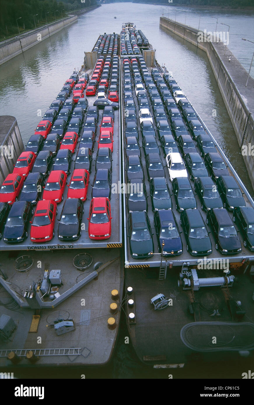 AUSTRIA - CLOSED Wilhering Ottensheim BARGES WITH CARS - Stock Image