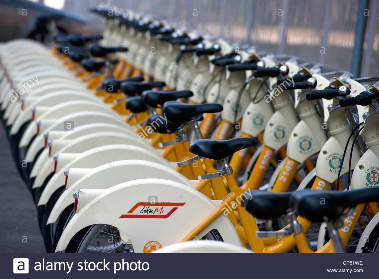 bike sharing,bikemi,milan - Stock Image