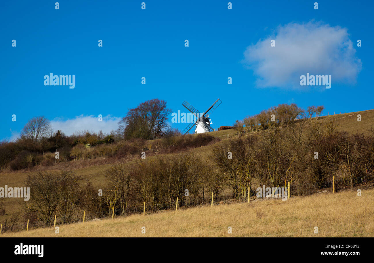 Turville Windmill in the Hambleden Valley between Marlow and Henley on Thames Chiltern Hills Buckinghamshire England - Stock Image