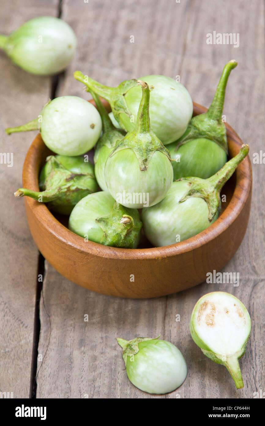 Green eggplants - Stock Image