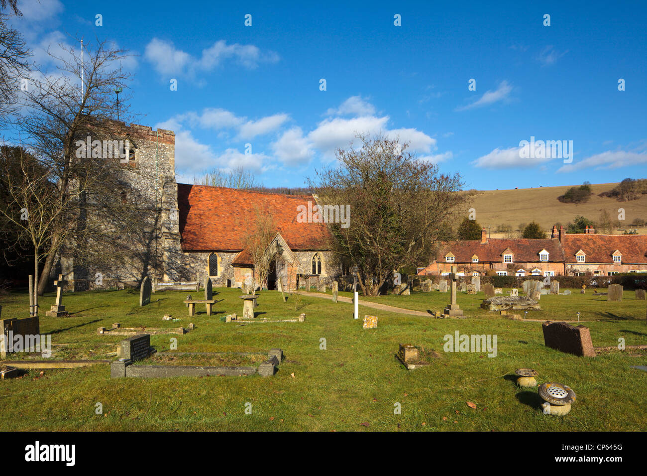 Turville Village Church in the Hambleden Valley between Marlow and Henley on Thames Chiltern Hills Buckinghamshire - Stock Image