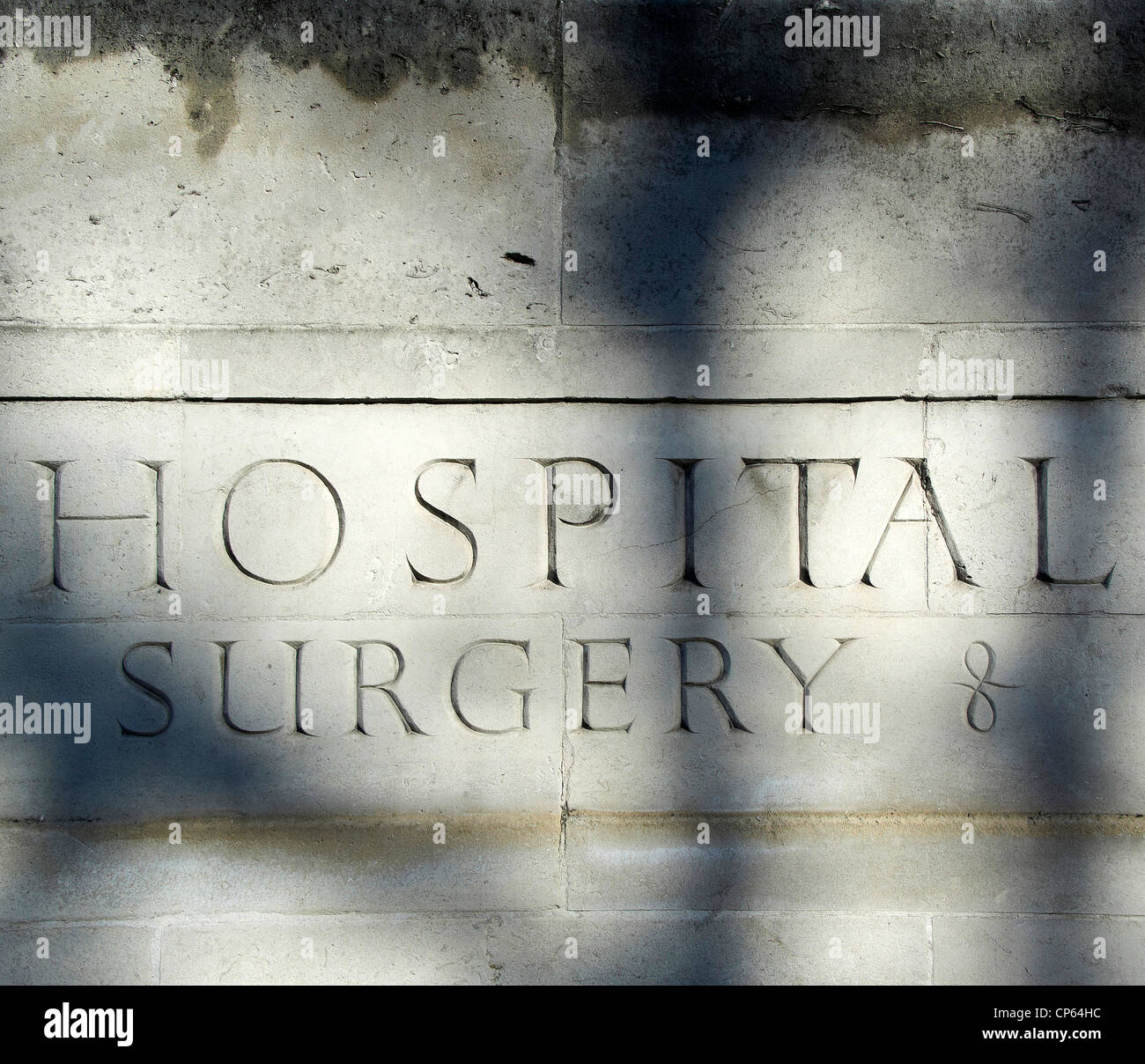 Hospital Sign carved in Stone, London - Stock Image