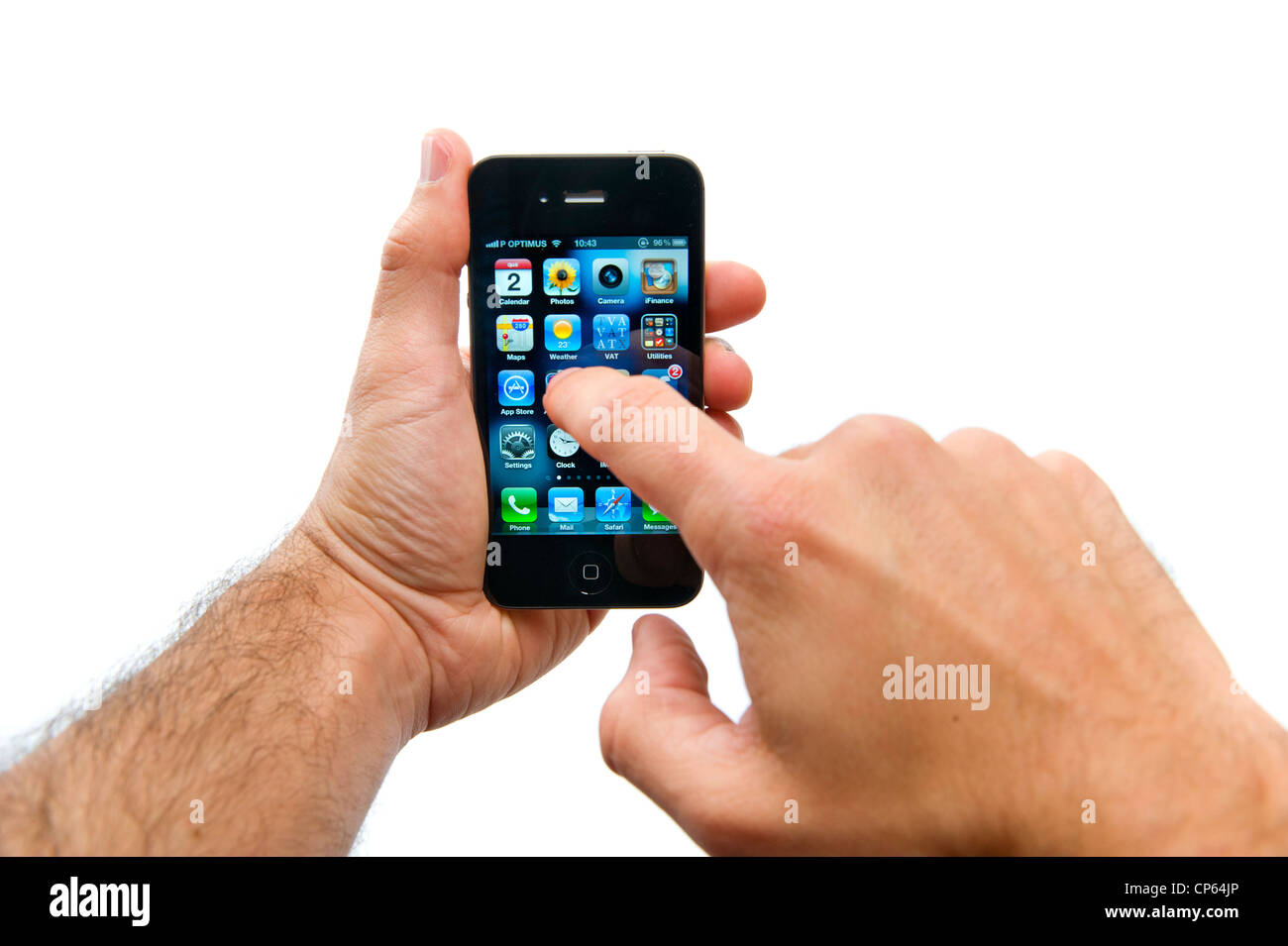 Hands holding and using an iPhone - Stock Image