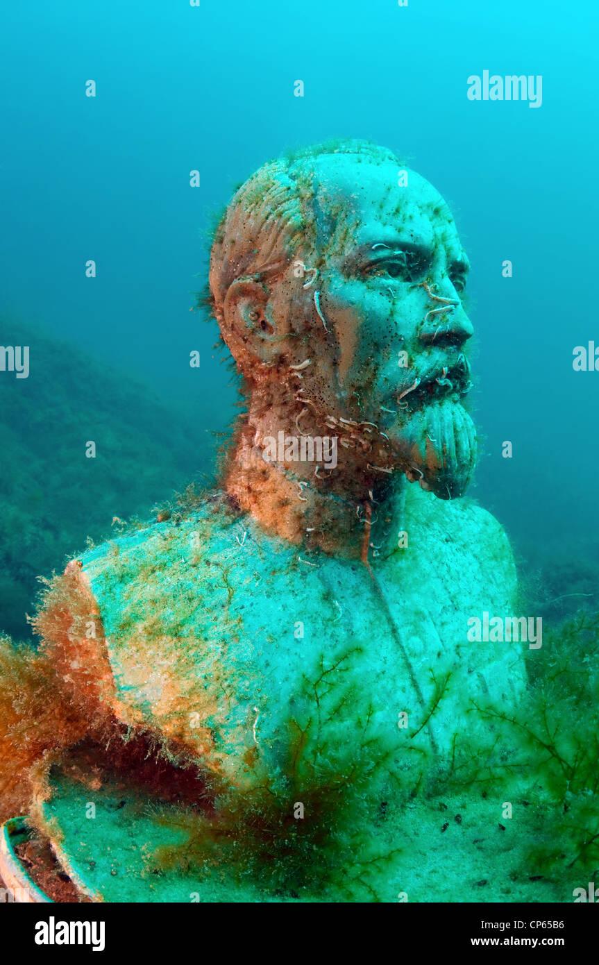 Felix Edmundovich Dzerzhinsky sculpture to first in the world underwater museum Leaders' Alley or Soviet Atlantis - Stock Image