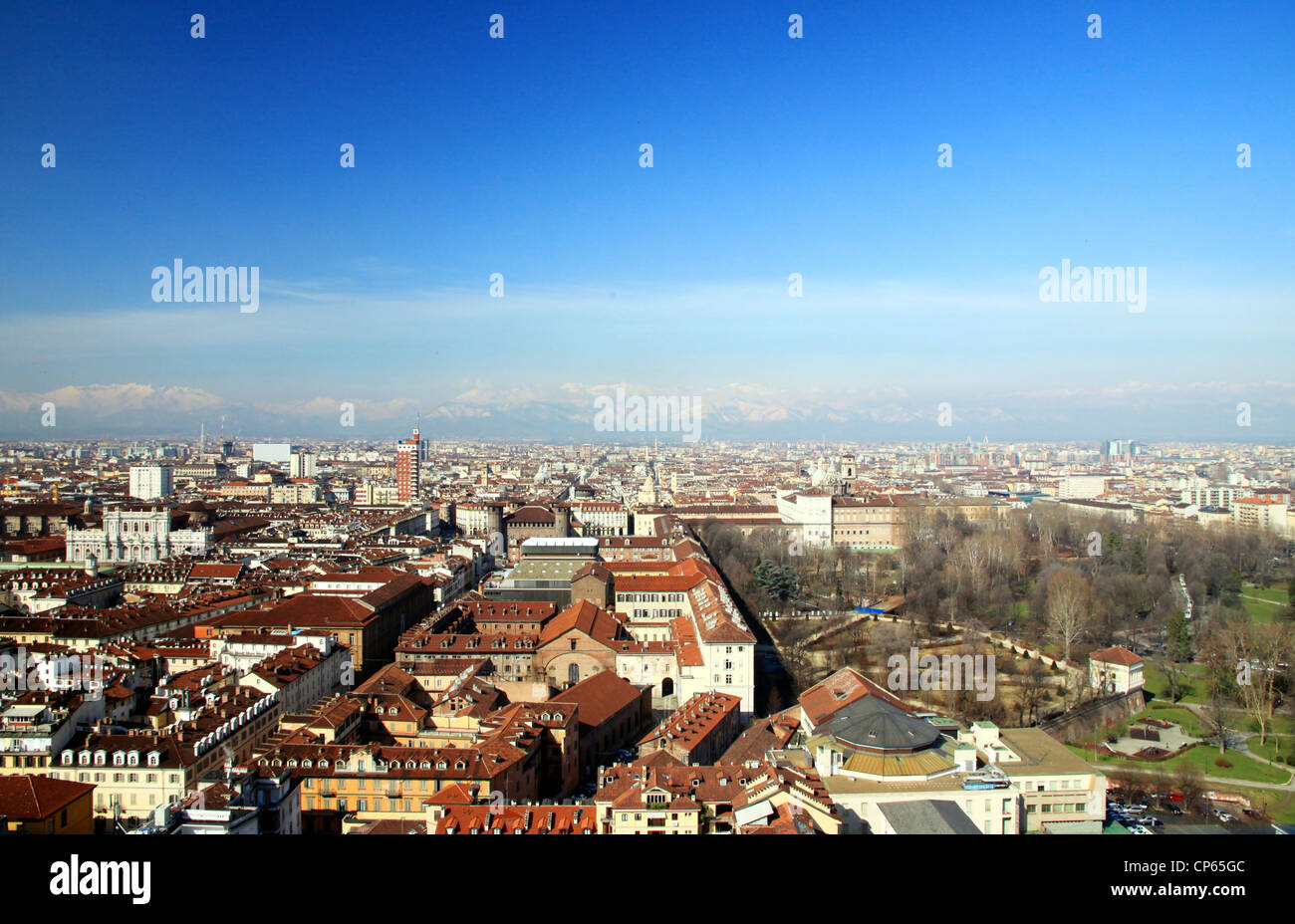 A view of Turin, Italy, from the Mole Antonelliana - Stock Image
