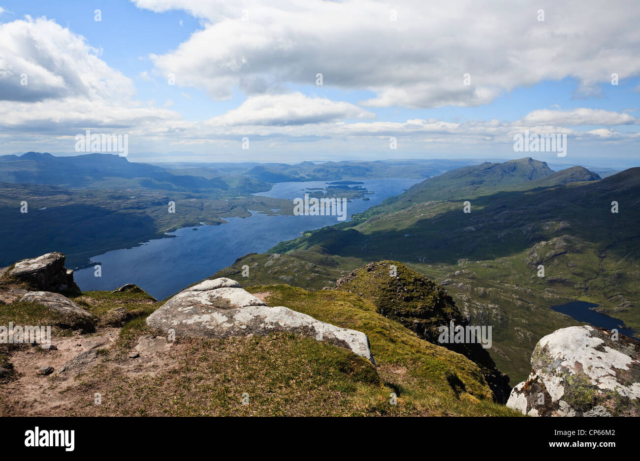 Loch Maree and the Letterewe forest seen from the top of Slioch - Stock Image