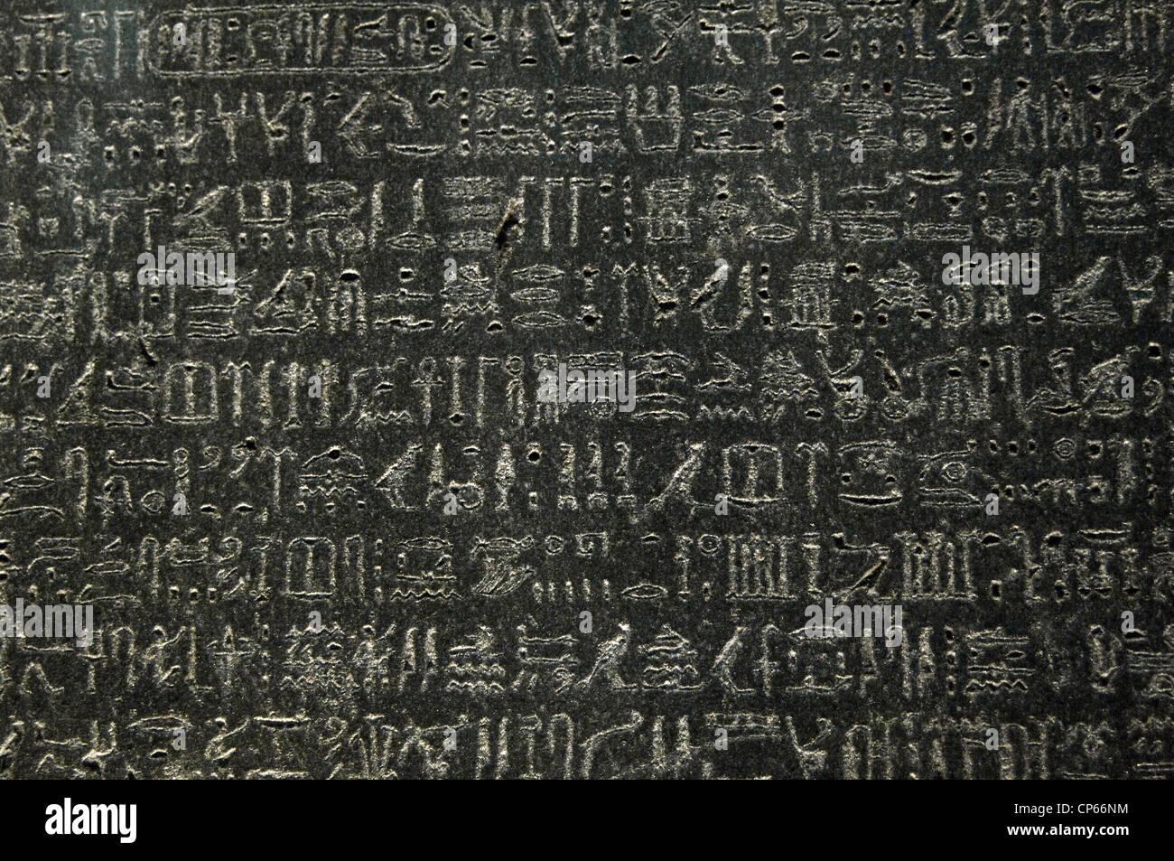 The Rosetta Stone. Ptolemaic era. 196 BC. Detail. Hieroglyphical scripture. - Stock Image