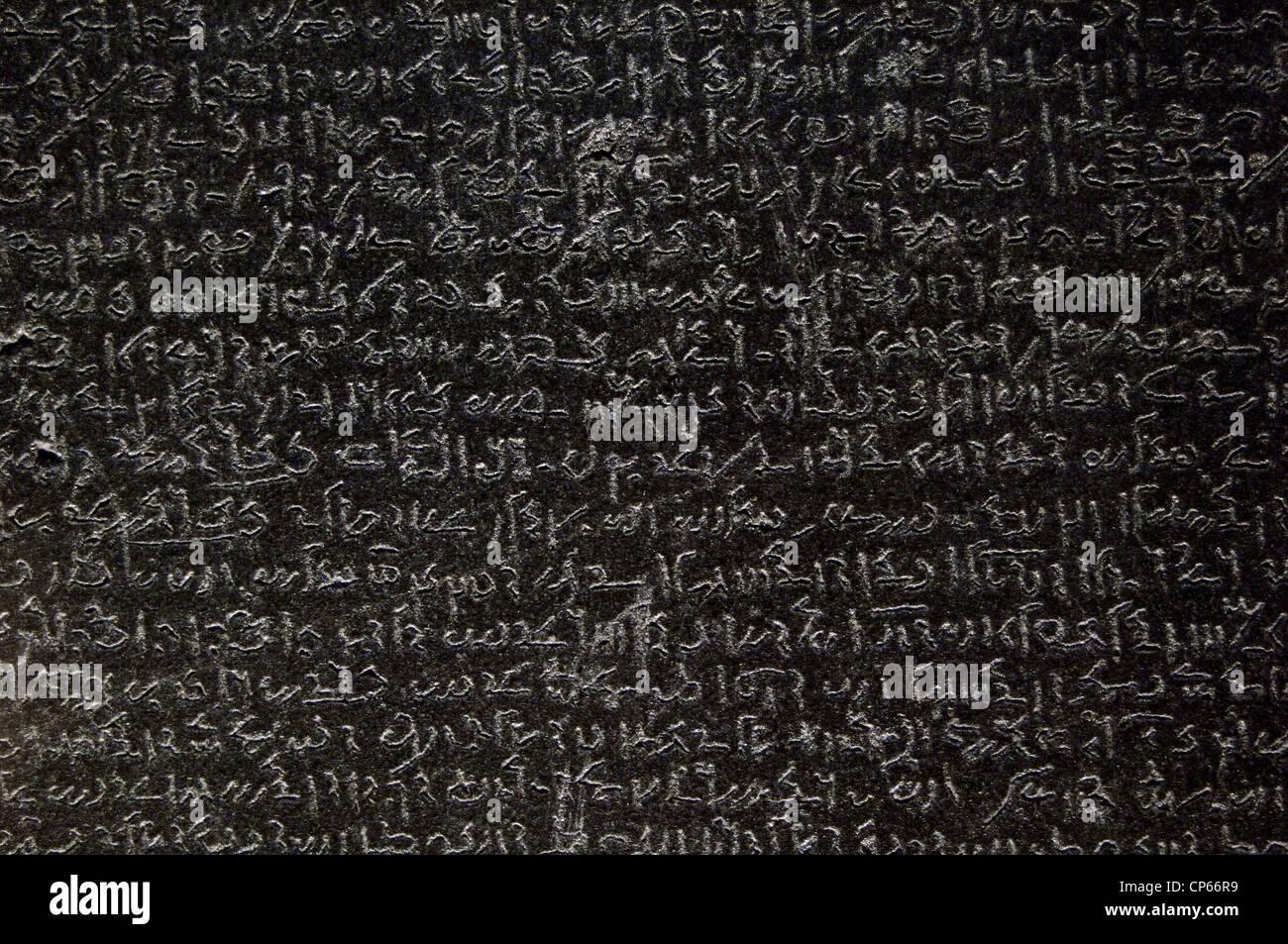 The Rosetta Stone. Ptolemaic era. 196 BC. Demotic scripture. Detail. - Stock Image