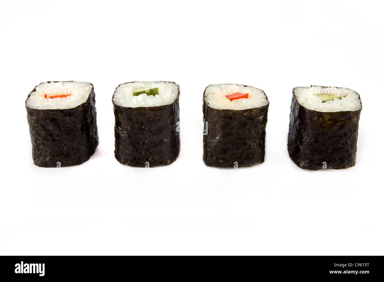 Line of sushi roll over white - Stock Image