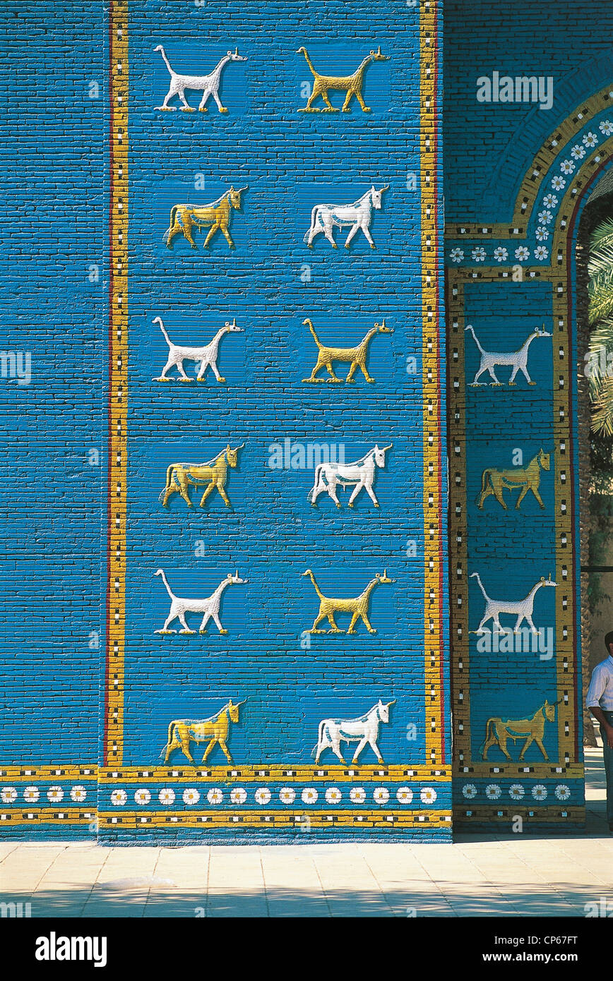 BABYLON IRAQ RECONSTRUCTION OF SPECIAL Ishtar Gate Stock Photo