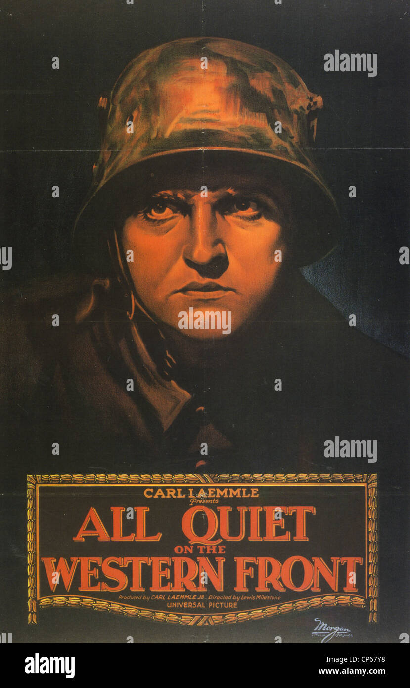 ALL QUIET ON THE WESTERN FRONT Poster for 1930 Universal film with Lew Ayers - Stock Image