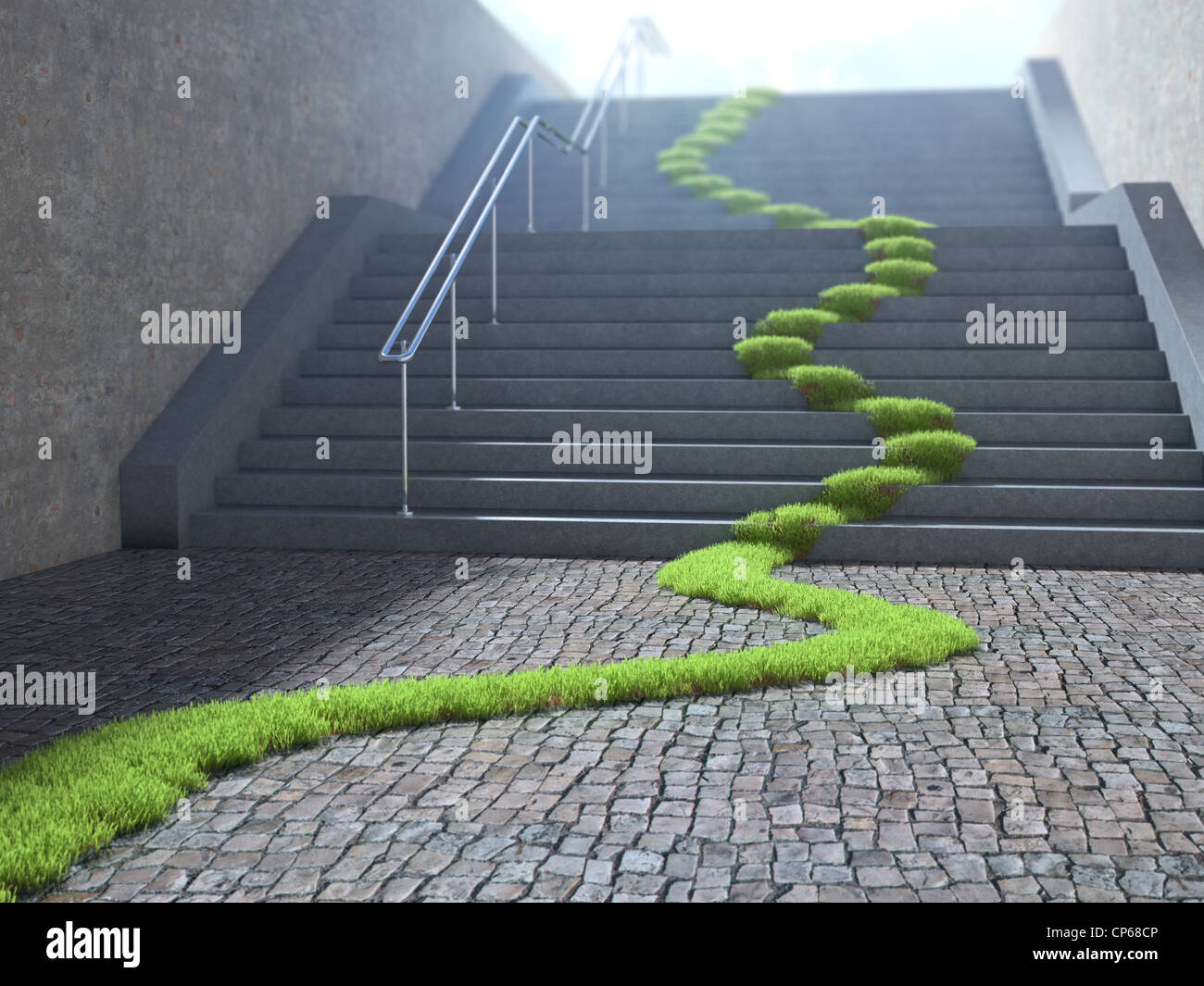 Urban ecology concept - grass strop over stairs - Stock Image