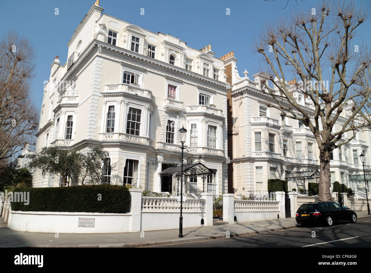 Exclusive Properties On Holland Park W11 In The Royal Borough Of Kensington  And Chelsea, London, UK. March 2012