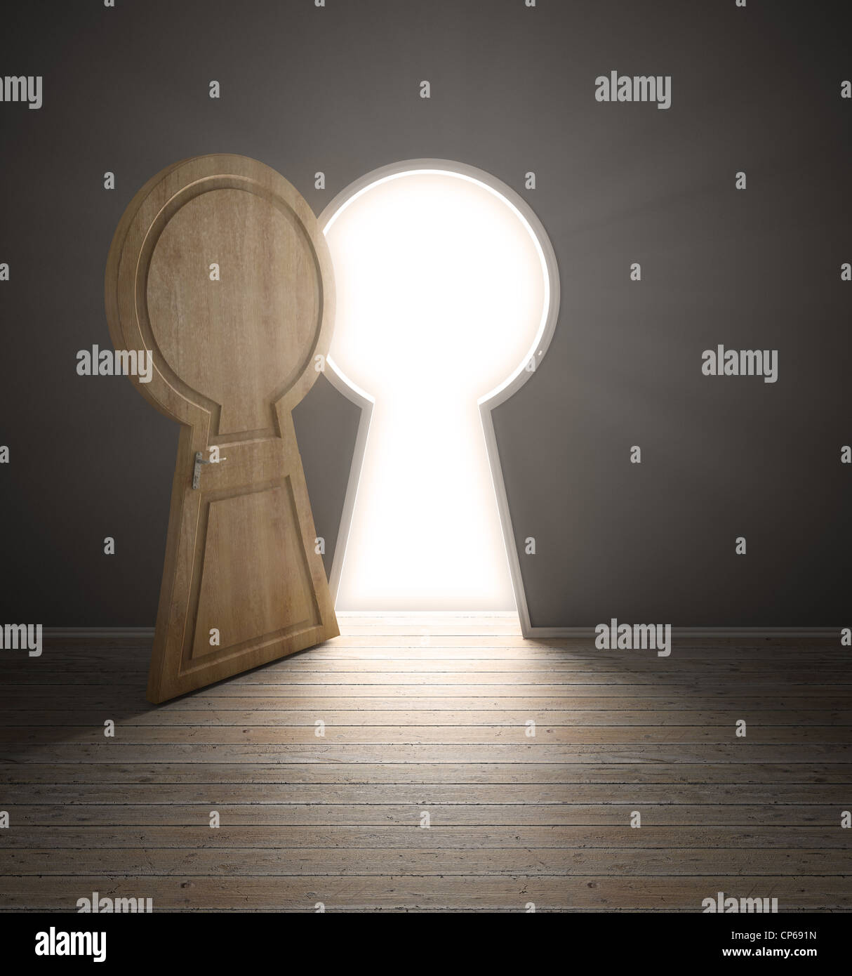 An empty interior with a door shaped like a keyhole - Stock Image