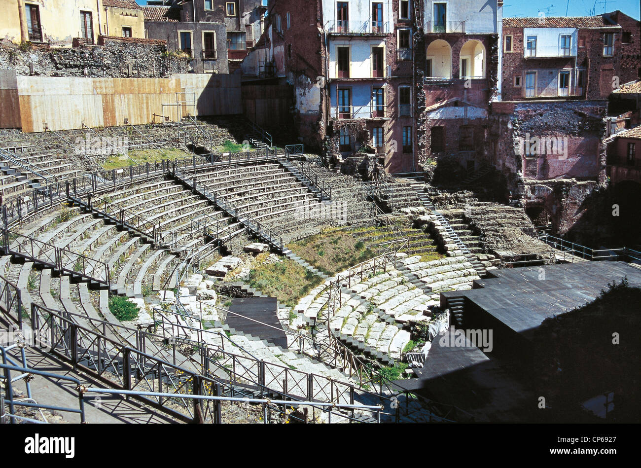 Sicily - Catania, the ancient greek theater. - Stock Image