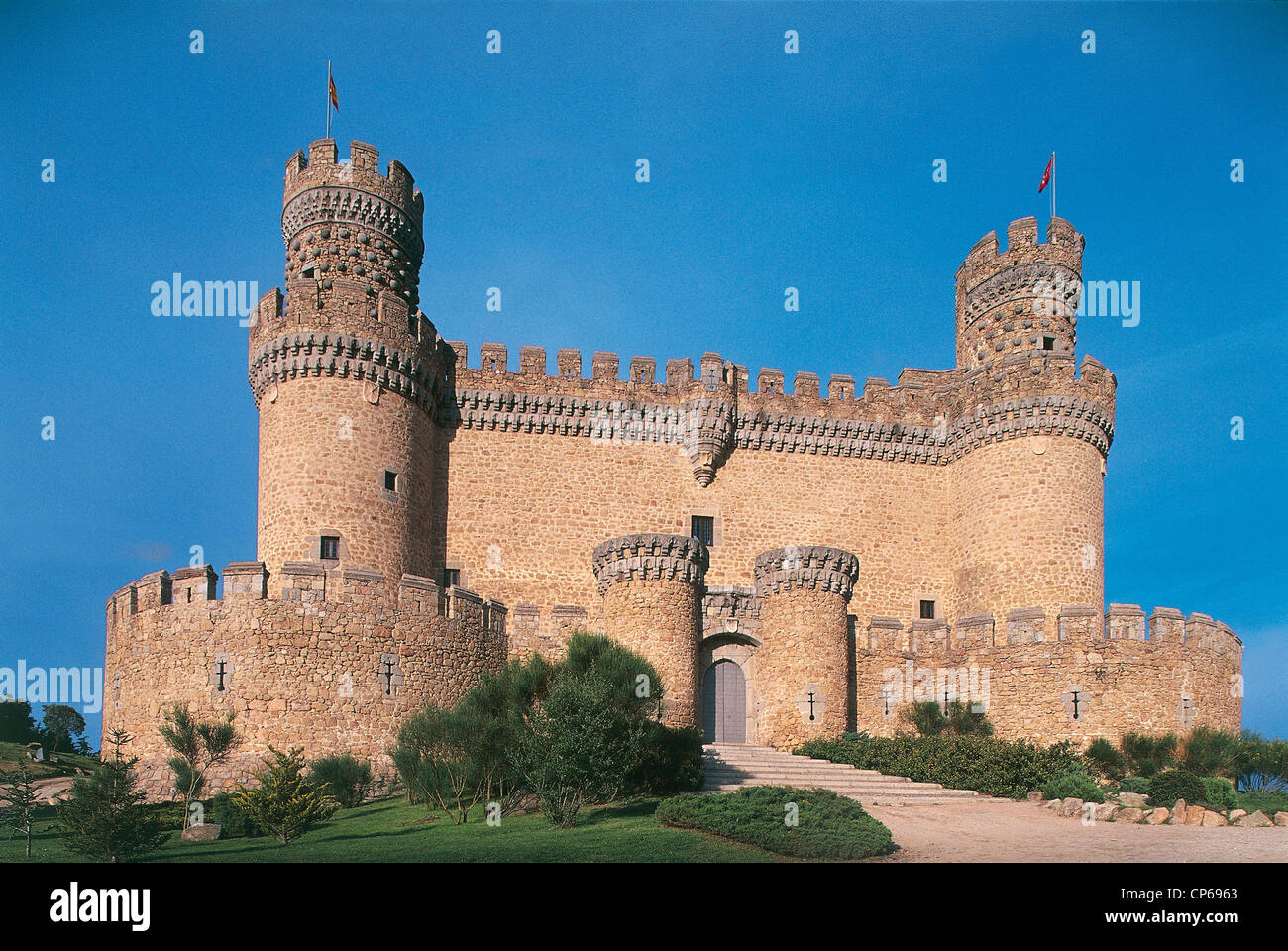 Spain - Madrid - Manzanares el Real Castle, XV century. - Stock Image