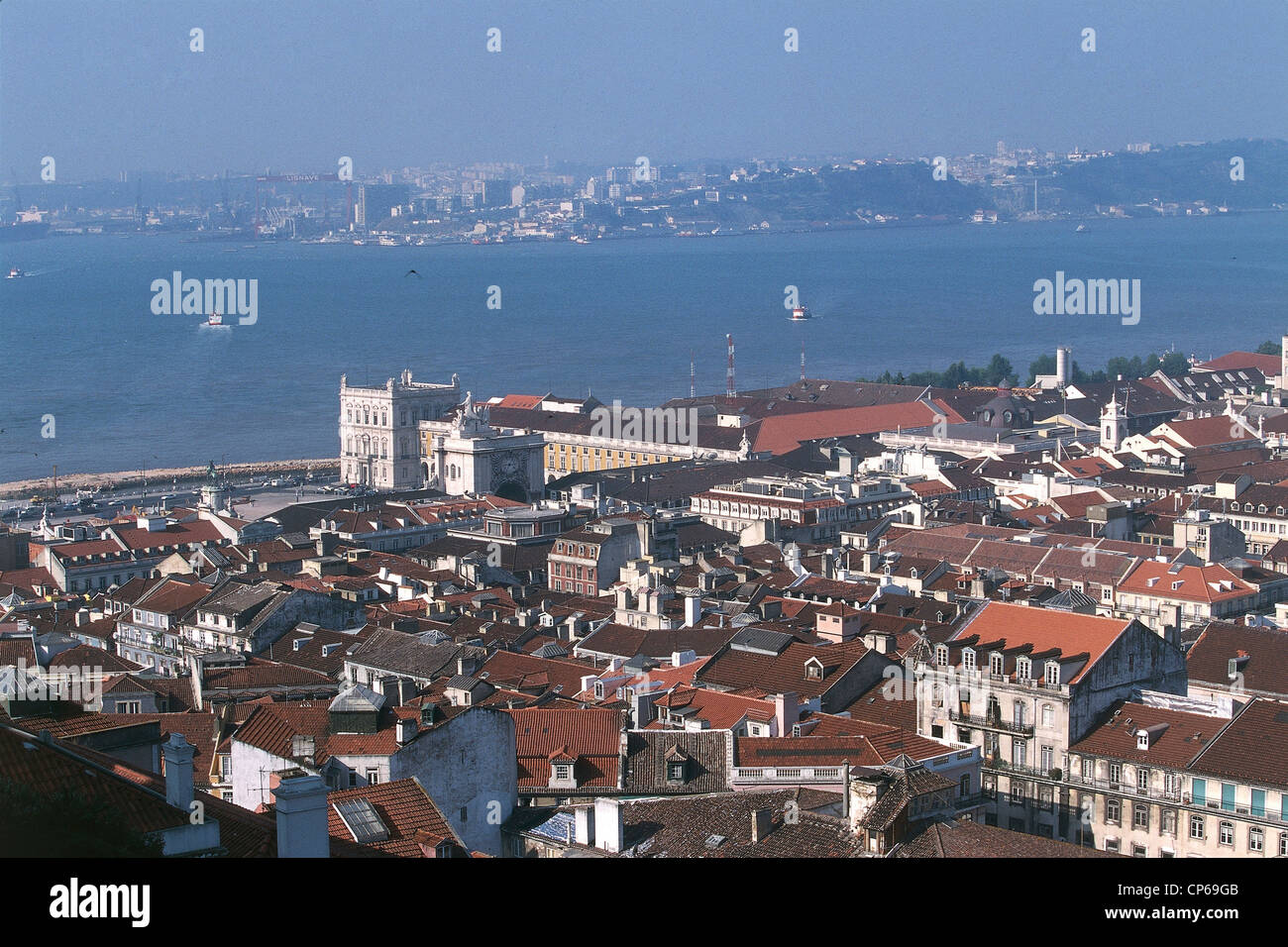 Portugal - Lisbon. View of the mouth of the Tagus from the Castle of St. George (Castelo de Sao Jorge). - Stock Image