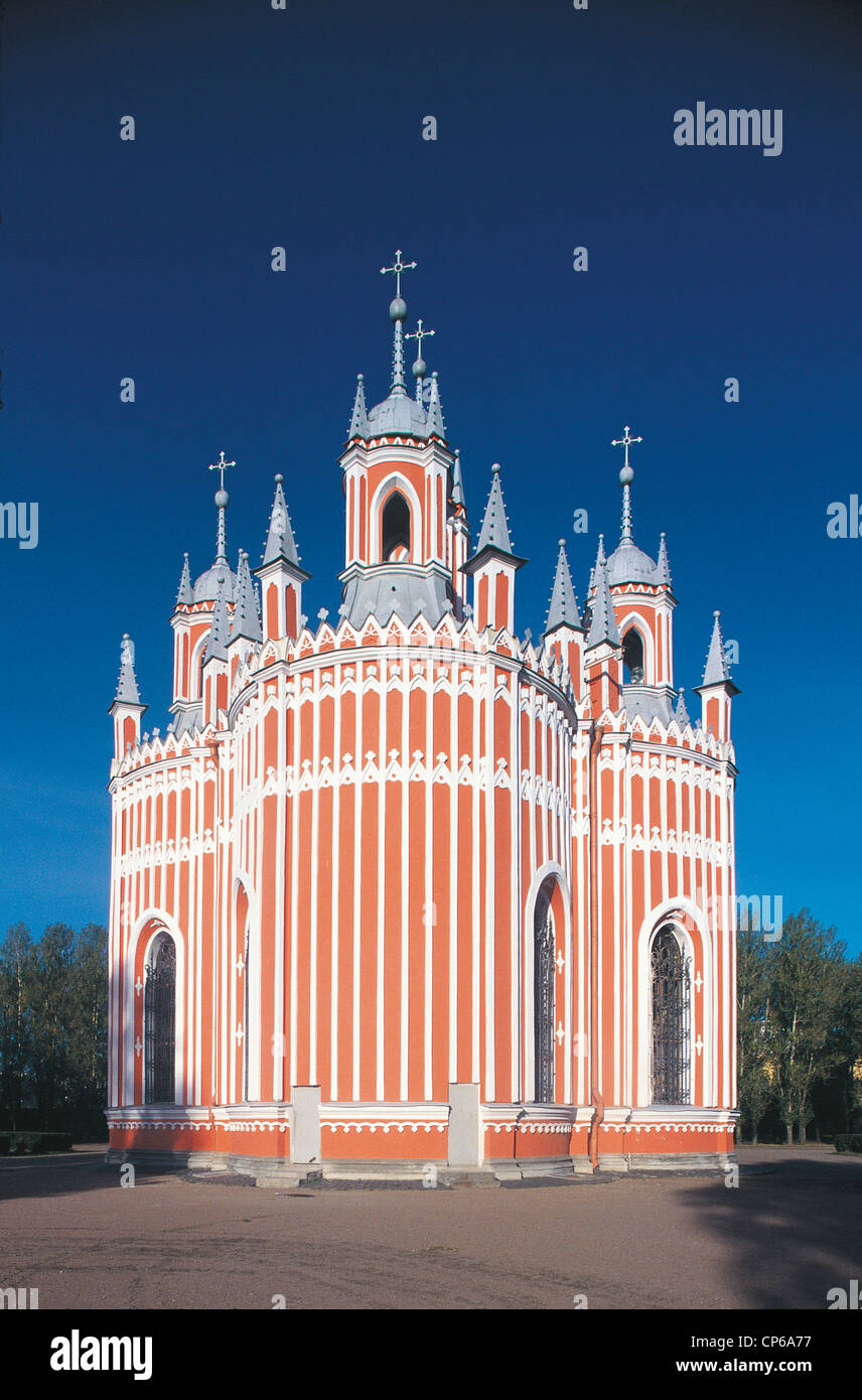 Russia - St. Petersburg. Tchesma neo-Gothic church. - Stock Image