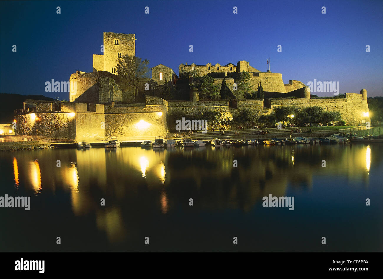 France Languedoc-Roussillon Collioure The Castle Of The Knights Templar Xii-Xviii Sec. Night - Stock Image