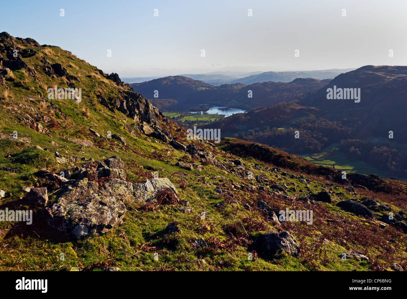 Looking over Grasmere from Gibson Knott in the Lake District National Park, Cumbria, England. - Stock Image