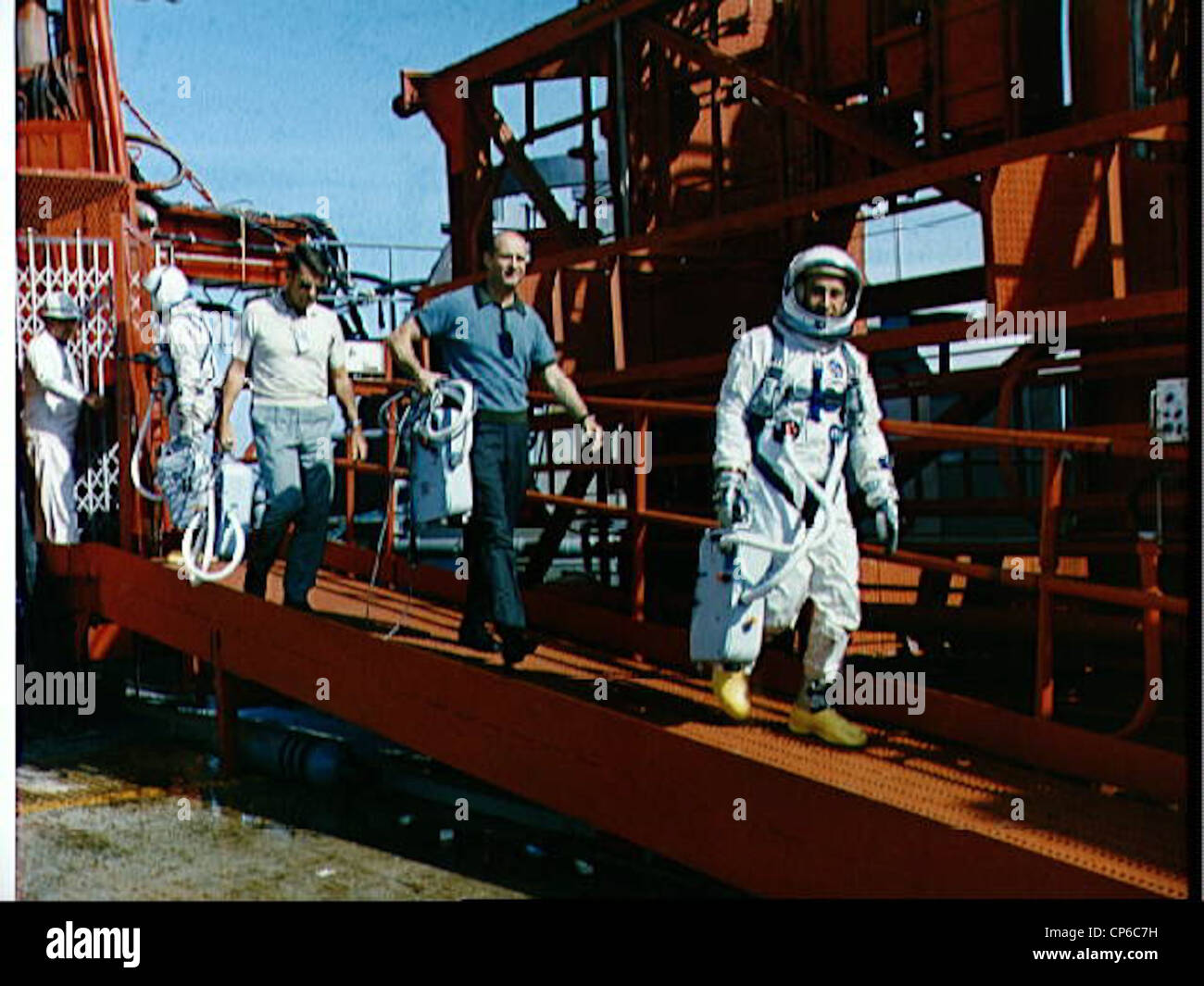 Astronauts John W. Young, Walter M. Schirra Jr., Thomas P. Stafford and Virgil I. Grissom (left to right) are shown Stock Photo