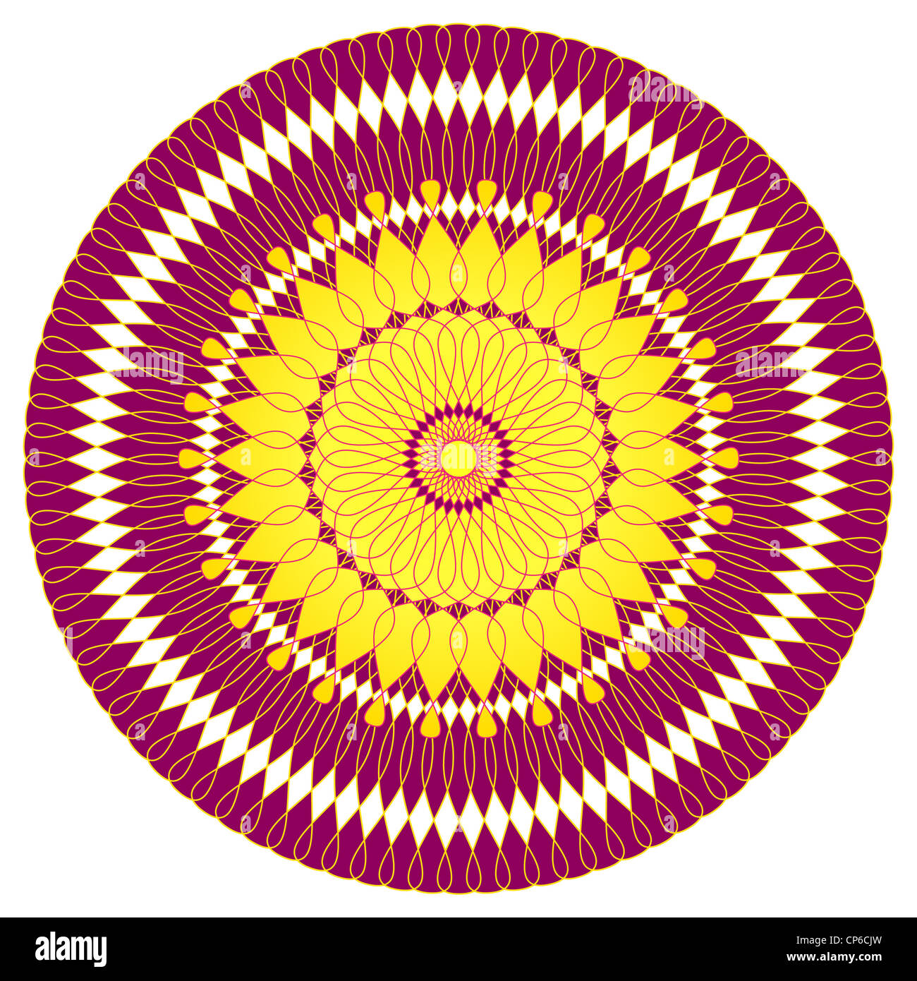 Artistic flower mandala design in purple and yellow Stock Photo