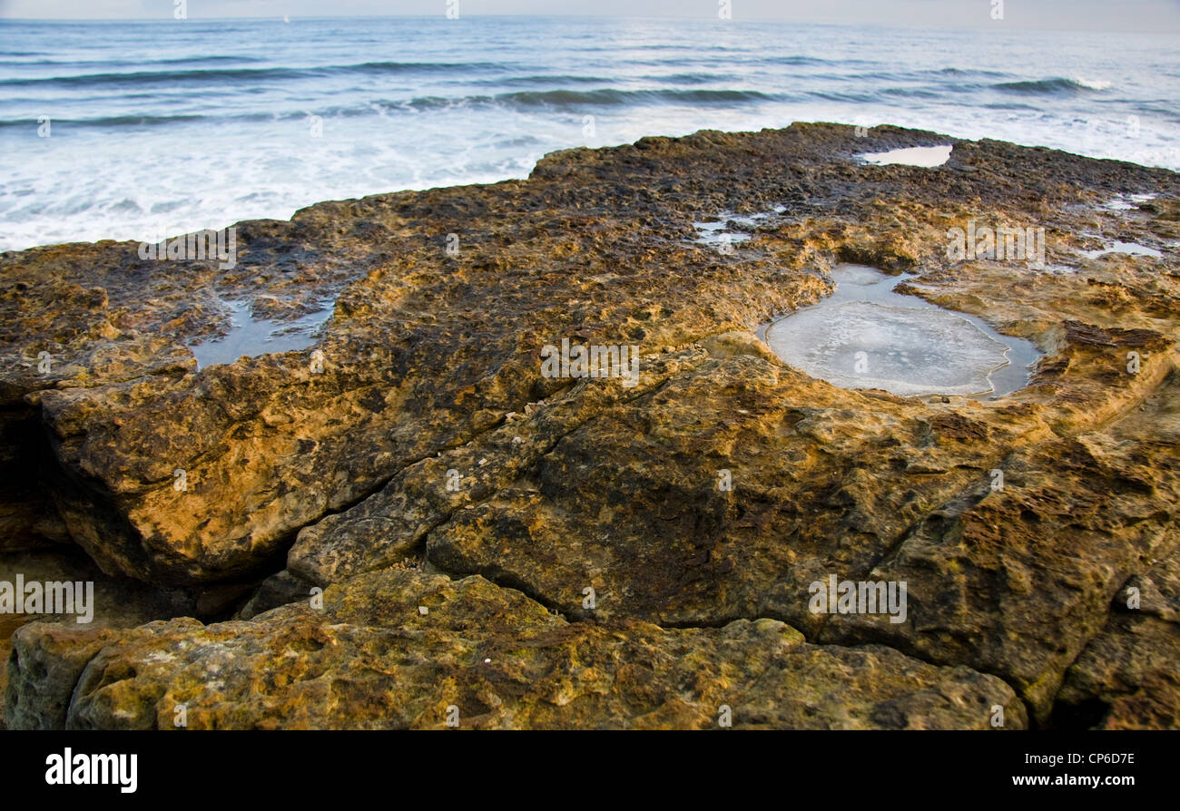 Ice filled dinosaur footprint overlooking North Sea, South Bay, Scarborough, North Yorkshire, England, UK - Stock Image