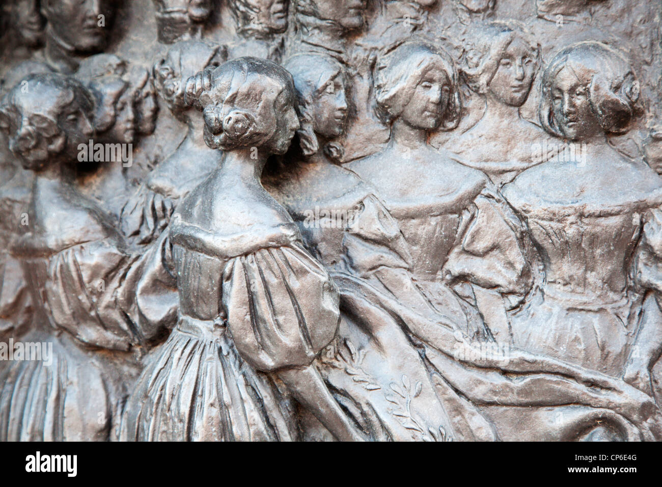 Plinth Detail Queen Victoria Statue Albert Square Dundee Scotland - Stock Image