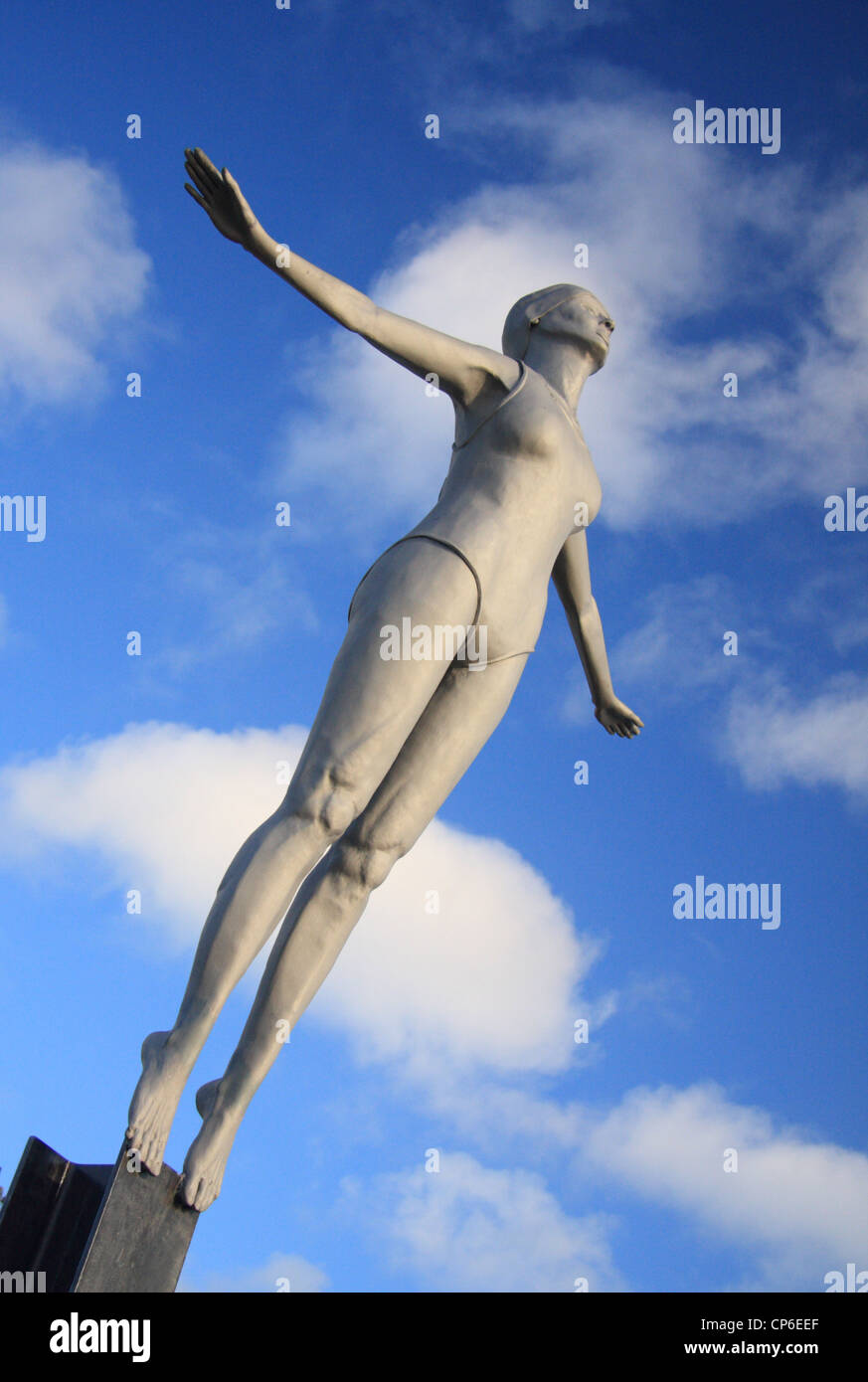 The Diving Belle sculpture on Scarborough Harbour, Scarborough, North Yorkshire, UK - Stock Image
