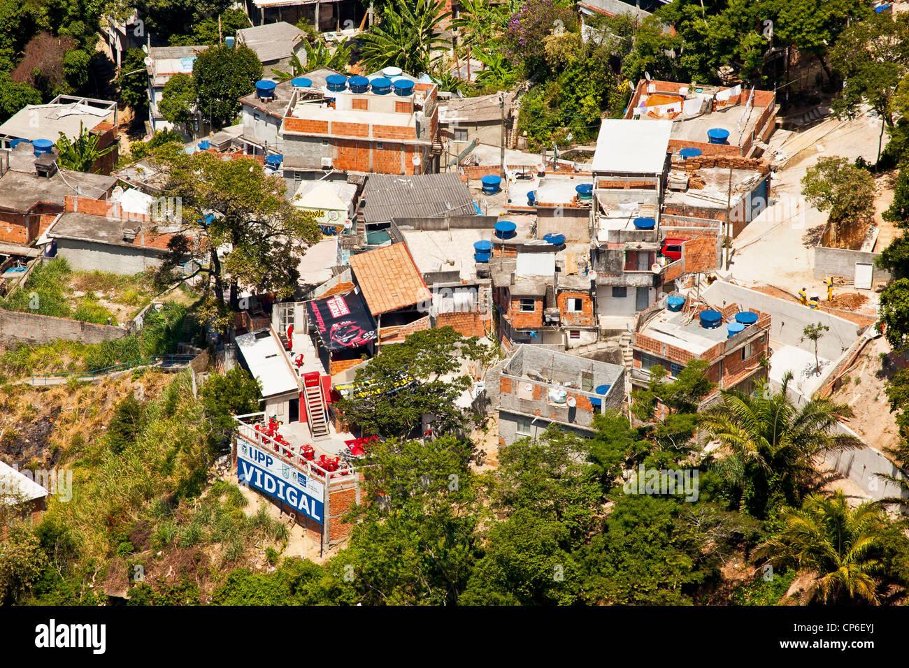 Favela do Vidigal Rio de Janeiro Brazil UPP headquarter Unidade de Policia Pacificadora Pacifying Police Unit - Stock Image