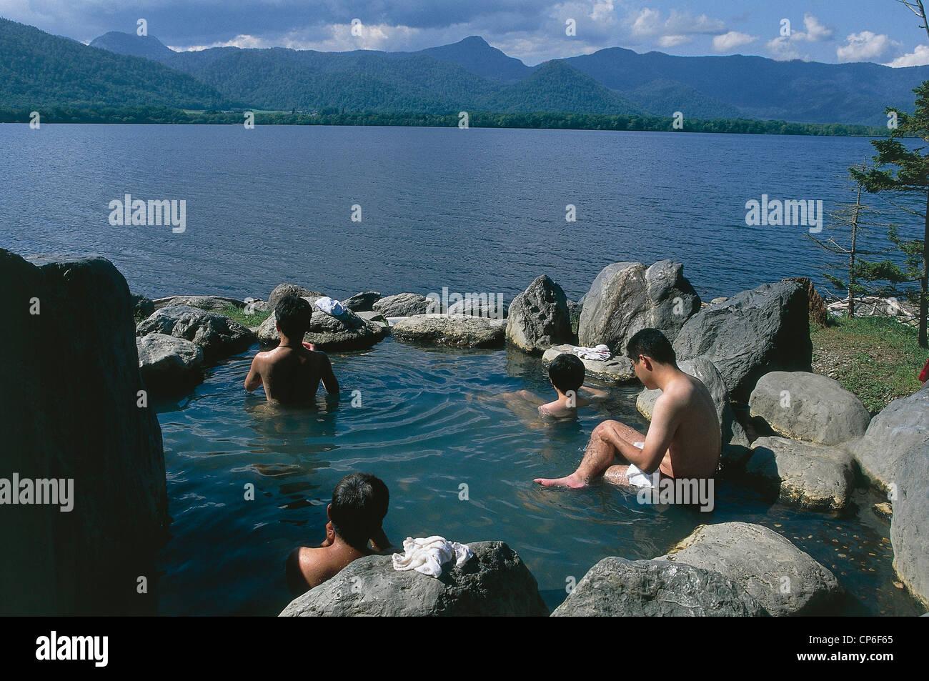 Japan Hokkaido. Akan National Park, Lake Kussharo (Kussharo-ko). Spa ...