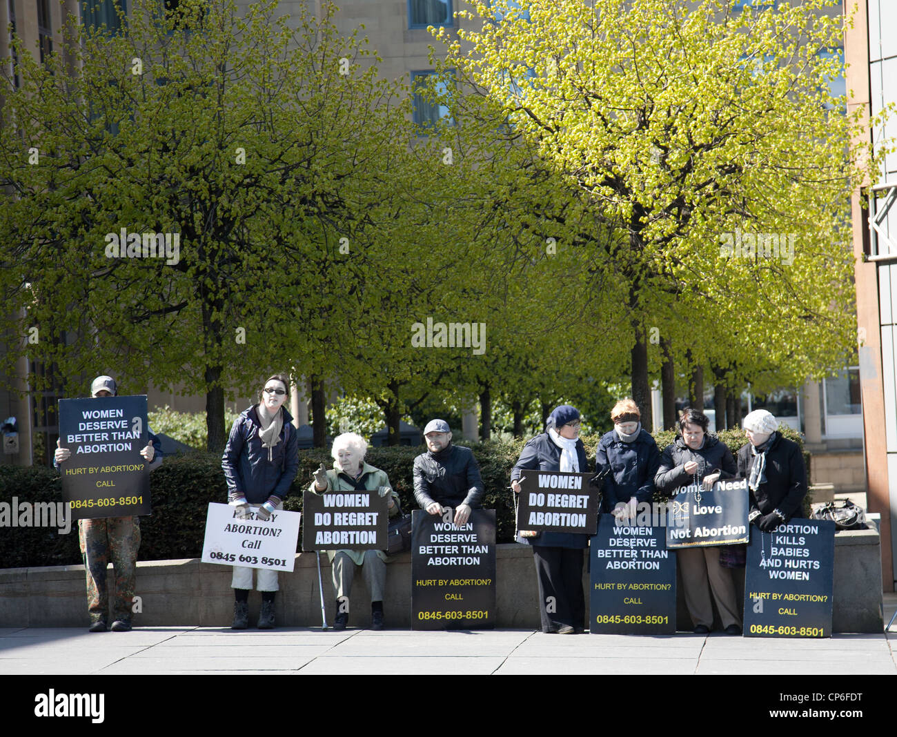 Abortion right-to-life protest Edinburgh Scotland. - Stock Image