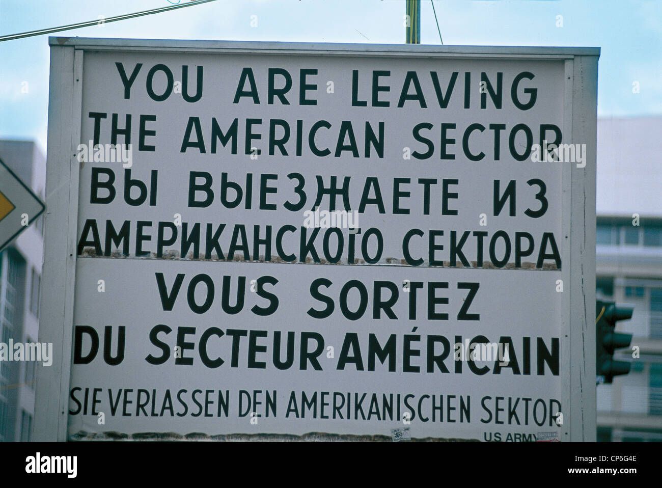 Germany - Berlin. Signalization of the former Checkpoint Charlie in the American sector - Stock Image