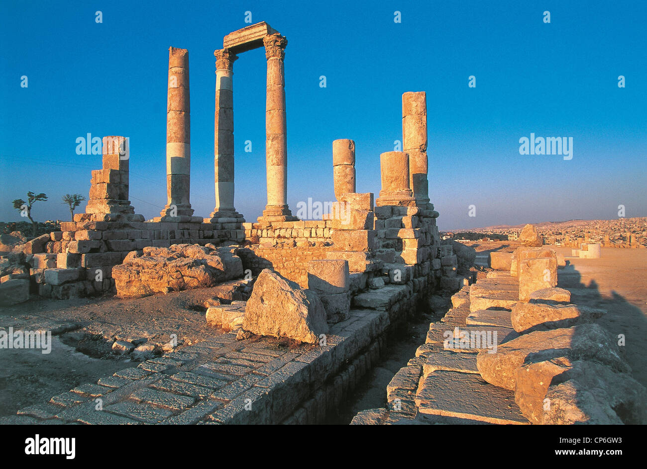 Jordan - Amman. The Citadel, the ruins of the temple of Jupiter, the second century. - Stock Image