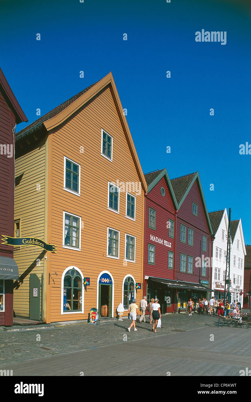 Norway - Bergen - Bryggen Hanseatic Quarter (World Heritage UNESCO 1979) - Stock Image