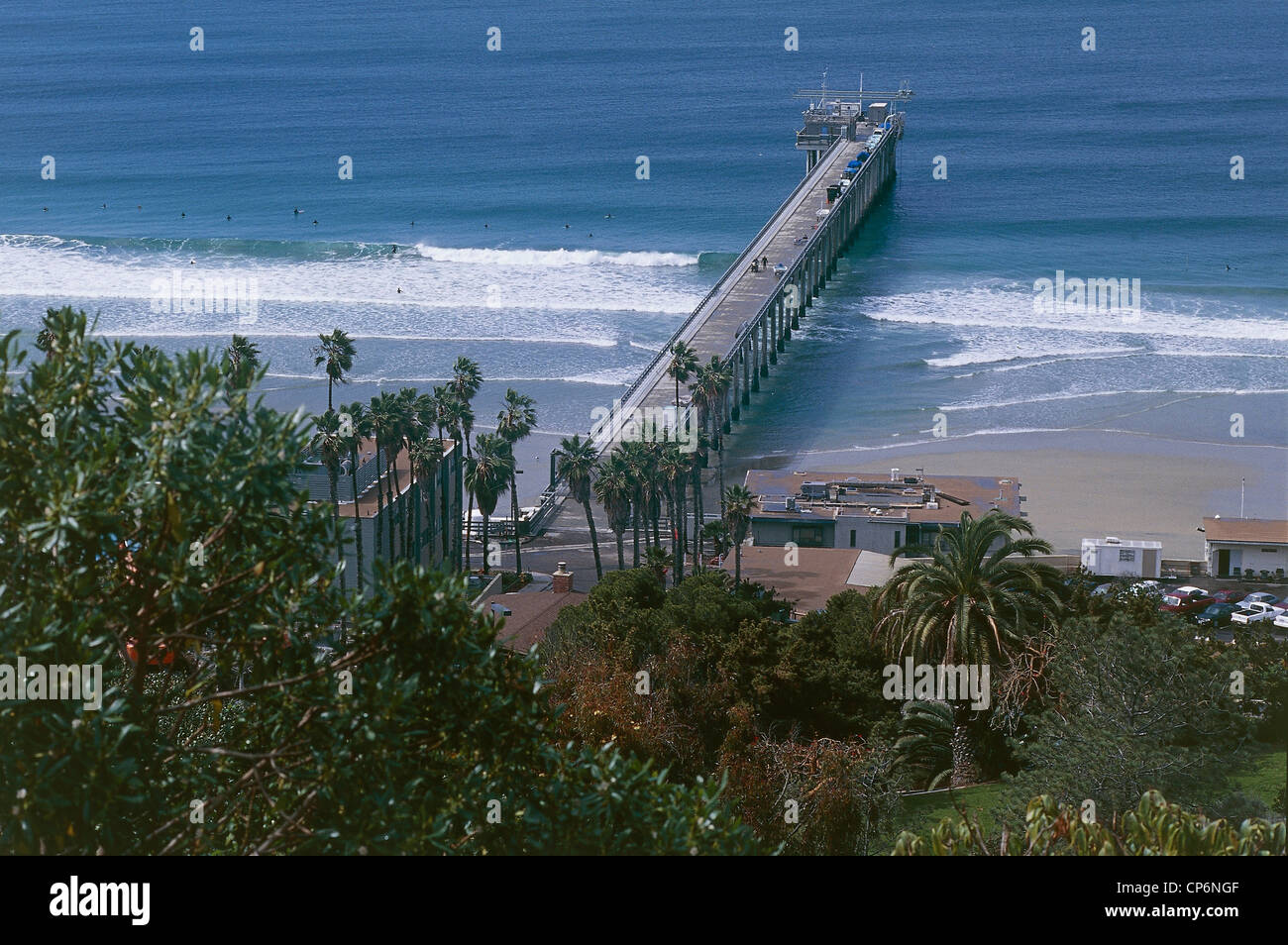 United States of America California San Diego. Scripps Institute of Oceanography, the pier at the beach in the area - Stock Image