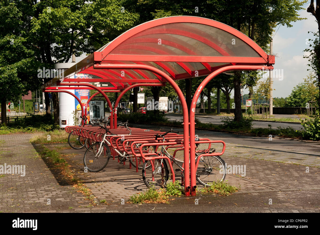 Commuter Bicycle Rack Storage Tram Station Cologne Germany Europe EU